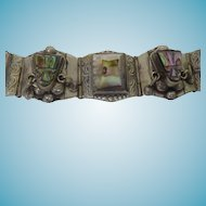 Vintage Mexican Sterling Silver & Abalone Shell Faces Mask Bracelet