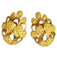 Textured Vintage Signed Crown Trifari Golden Earrings Clip On