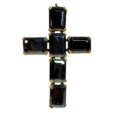 Antique Czech Glass & Brass Cross Pendant Marked Zchechoslovakia