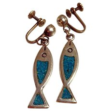 Signed Mexican Sterling Silver Fish Earrings With Inlaid Crushed Stone