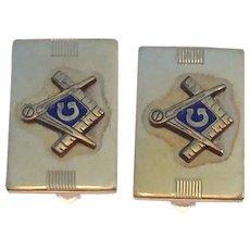 Signed Anson 1/20 12K Gold Filled & Enamel Masonic Symbol Cuff Links