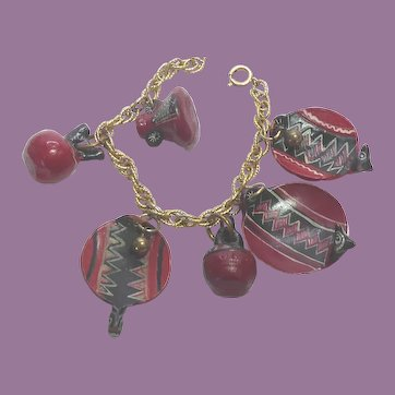 Miniature Native Pottery Dishes on Gold Filled Charm Bracelet  - Red Black & White
