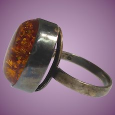 Big Modernist Amber Ring - Sterling Silver Marked Poland 925 & Signed E Size 9