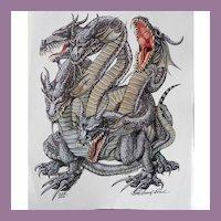 Role Playing Kaliya Dragon Cover Art Talislanta - P D Breeding Black Signed and Numbered Print