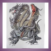 Role Playing Kaliya Dragon Cover Art Talislanta - P D Breeding Black Signed and Numbered Print