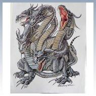 Kaliya Dragon Cover Art Talislanta - P D Breeding Black Signed and Numbered Print - Kaliya Dragon Cover Art Talislanta