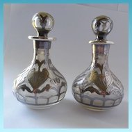 Gorham Sterling Overlay Perfume Bottle Matched Pair