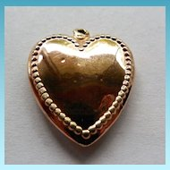 Antique Gold Heart Pendant With Beaded Border