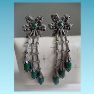 Amazing Vintage Mexican Sterling Earrings With Green Glass or Stone - Signed Quinto