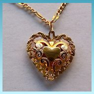 14K Gold Filigree Heart On 14K Gold Chain