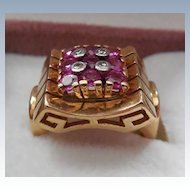 Gorgeous 14k Gold Estate Ring - Red Stones Unique Setting