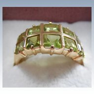 14K Gold Ring With Green Stones - Green Garnet