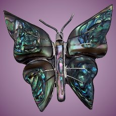 Mexican Sterling Silver & Abalone Shell Butterfly Pin Signed MS