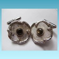 Exquisite Sterling Silver and Stone Cufflinks