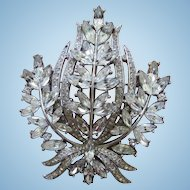 Gorgeous Signed Trifari Clear Rhinestone Brooch