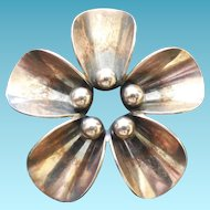 Lovely Denmark Sterling Arts & Crafts Flower Brooch - N.E. From Niels Erik From
