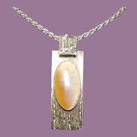 Silver and Agate Modernist Pendant - Rectangle with Oval Stone