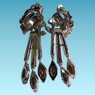 Gorgeous Rhinestone Vintage Crown Trifari Swinging Dangle Earrings Rhodium Plated Long
