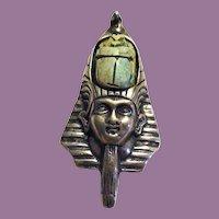 Egyptian Revival Sterling Scarab Pendant Pharaoh Signed Kali King Tut Asp