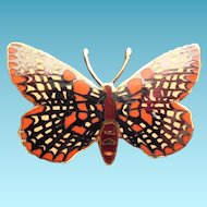 Enamel Butterfly Brooch - Signed Wm Spear 1990