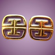1980 Signed Givenchy Logo G Earrings - Purple Enamel