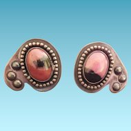 Modernist Sterling Silver and Rhodonite Cufflinks