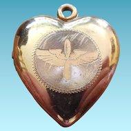WWII Sweetheart Locket - Army Air Force Wings - GF on Sterling