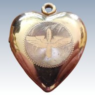 WWII Sweetheart Locket - Army Air Force Wings - GF on Sterling