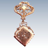 Victorian Hanging Pendant Locket Brooch - Heart Shaped Design