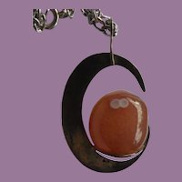 Fabulous Orange Spotted Eye Agate Modernist Studio Pendant