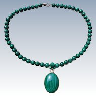 Beautiful Green Malachite Bead & Pendant Necklace - 14k GF Clasp