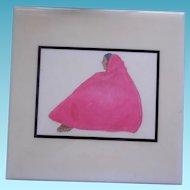 """RC Gorman 8"""" Tile - Pink Shawl - Navajo Woman"""