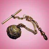 Antique Pocket Watch Chain With Vinaigrette Pendant Fob