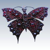 "Vintage Bohemian Garnet Butterfly Brooch - Large 2"" Figural"