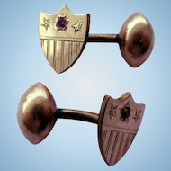 Victorian Shield Shaped Cufflinks With Stars and Stripes and Red Glass Stones