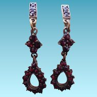 Victorian Bohemian Garnet Earrings in 830 Silver Settings - goldwashed