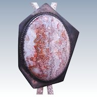 Large Vintage Native American Sterling & Lace Agate Hexagon Bolo Tie