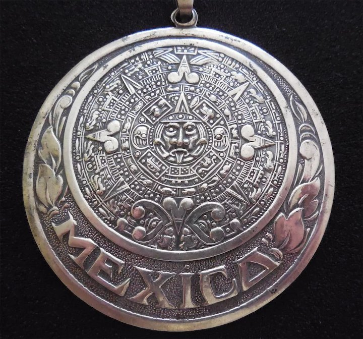 Large sterling silver vintage aztec calendar pendant with border of large sterling silver vintage aztec calendar pendant with border of leaves and mexico eagle 1 aloadofball Image collections