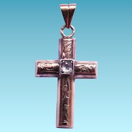 Gourgeous Antique 14K Gold Mine Cut Diamond Cross - 1/4 Carat Diamond