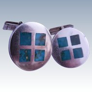 Vintage Sterling Silver Inlaid Turquoise Window Pane Cufflinks