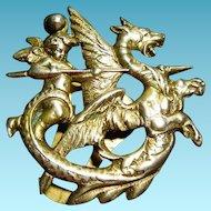 Rare Art Deco Era Signed Coppini 800 Silver Angel Slaying Dragon Clip - Putti Cherub