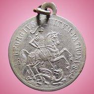 Rare Vintage Saint George Slaying The Dragon Medal - Latin Inscription