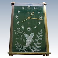 Lecoultre Clock Lucite W 3D Butterfly Design - Green Face Alarm & Music Box
