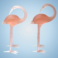 Gorgeous Pink Art Glass Flamingo Figurines