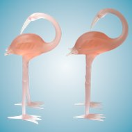 Gorgeous Pink Art Glass Flamingo Figurines