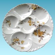 Antique Oyster Plate - Haviland Limoges France - Porcelain With Flowers