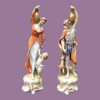 Antonio Borsato Paired Figures - Aphrodite & Dionysios Holding Jugs With Child and Deer