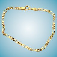 Italian Gold Over Sterling Silver Figaro Link Bracelet Chain Signed