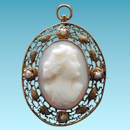 Antique 10K Gold Cameo Pendant Brooch With Seed Pearls