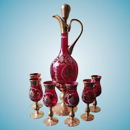 Beautiful Red and Gold Cordial / Liquor Set - With Fragonard Rococo Scene of Courting Lovers